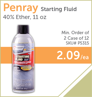 PaulB Wholesale - Penray Starting Fluid 40% Ether, 11 oz, Min. Order of 2 Cases of 12, #P5315, $2.09/ea